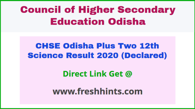CHSE +2 Class 12 Science Results 2020