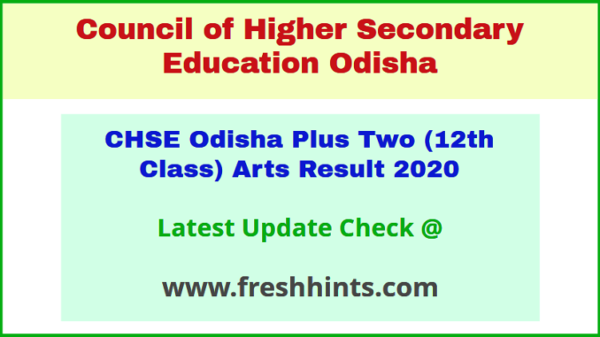 CHSE Class 12 Arts Results 2020