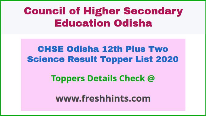 CHSE Plus Two Science Topper Merit List 2020