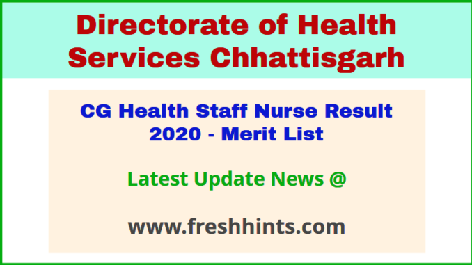 DHS Chhattisgarh Swasthya Vibhag Staff Nurse Selection List 2020