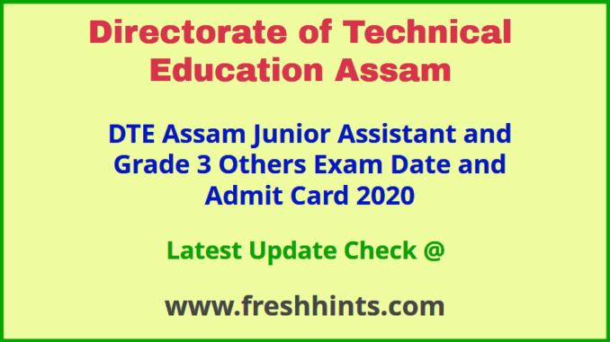 Directorate of Technical Education Assam Grade 3 Admit Card 2020