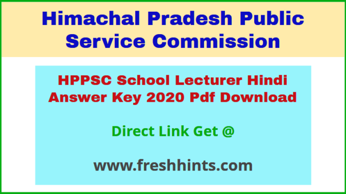 HP School Lecturer Hindi Answer Sheet 2020