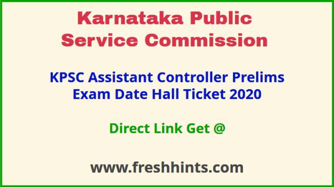 Karnataka Assistant Controller Group A Admit Card 2020
