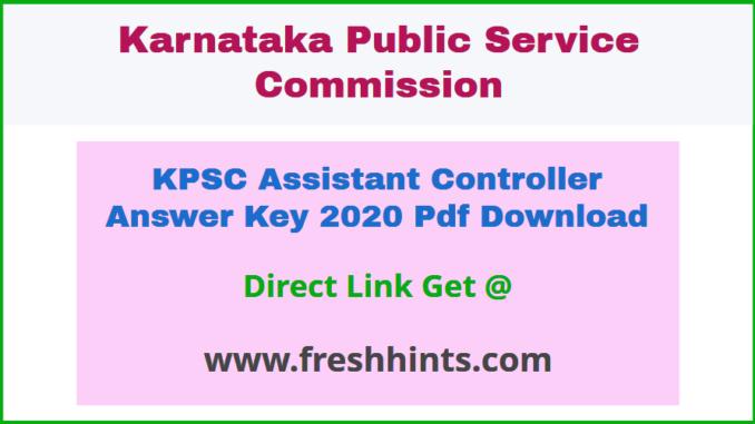 Karnataka Assistant Controller Key Answer Sheet 2020