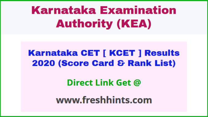 Karnataka Common Entrance Test Results 2020