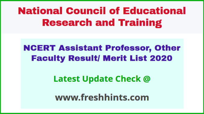 NCERT Faculty Shortlist and Selection List 2020