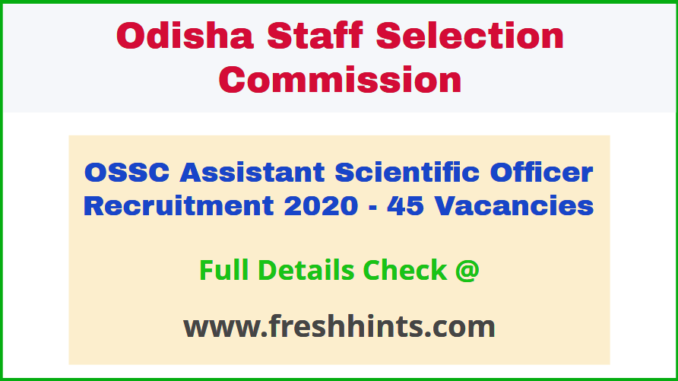 Odisha ASO Recruitment Notification 2020
