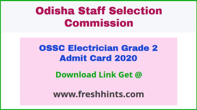 Odisha Electrician Grade II Hall Ticket 2020