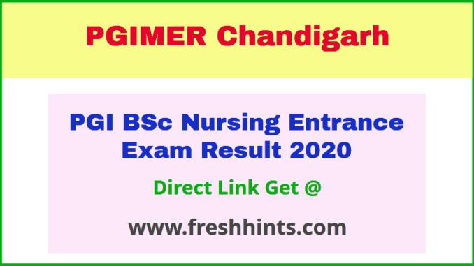 PGI BSc Nursing Entrance Test Results 2020