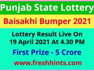 Punjab Baisakhi Bumper Lottery Winner List 2021