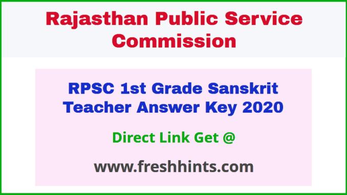 Rajasthan 1st Grade Sanskrit Vibhag Question Paper Solution Key 2020