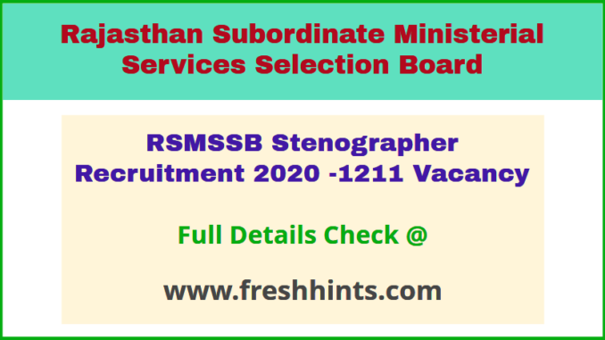 Rajasthan Steno Vacancy 2020
