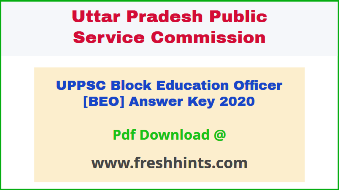 UP Block Education Officer Answer Sheet 2020