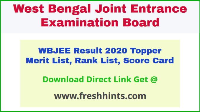 West Bengal JEE Results Rank Card 2020