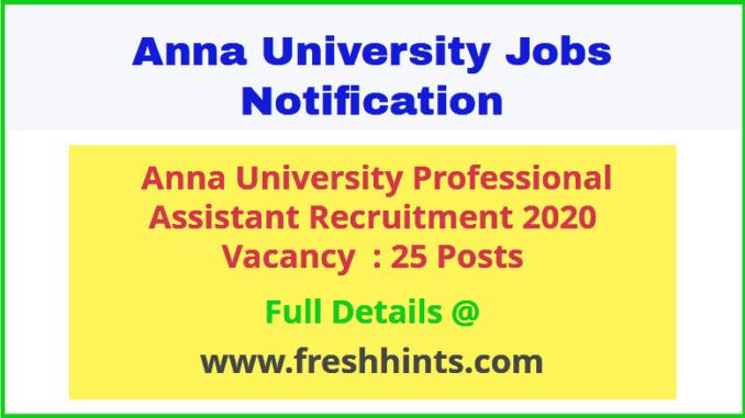 Anna University Professional Assistant Recruitment 2020
