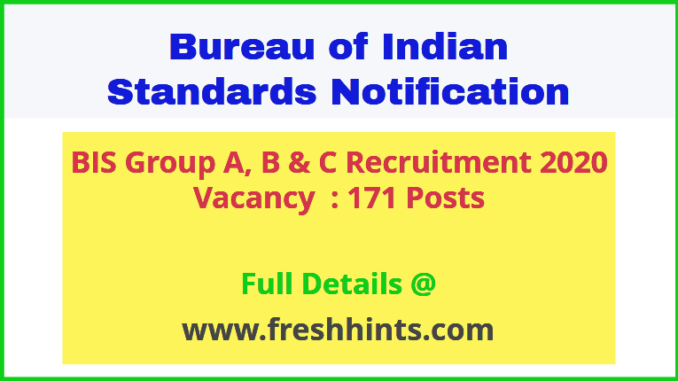 BIS Group A, B & C Recruitment 2020