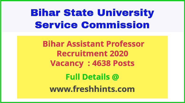 Bihar Assistant Professor Recruitment 2020