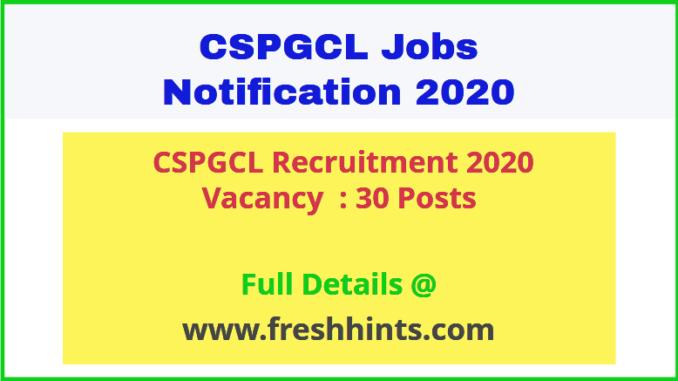 CSPGCL Recruitment 2020
