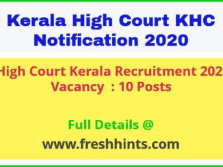 High Court Kerala Recruitment 2020
