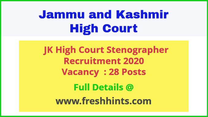 JK High Court Stenographer Recruitment 2020