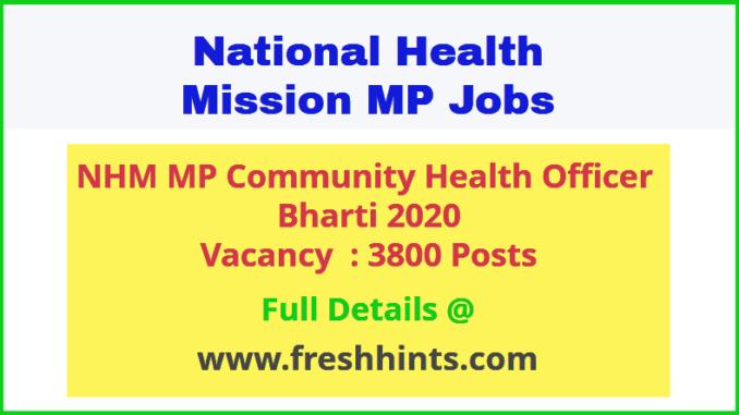 NHM MP Community Health Officer Bharti 2020