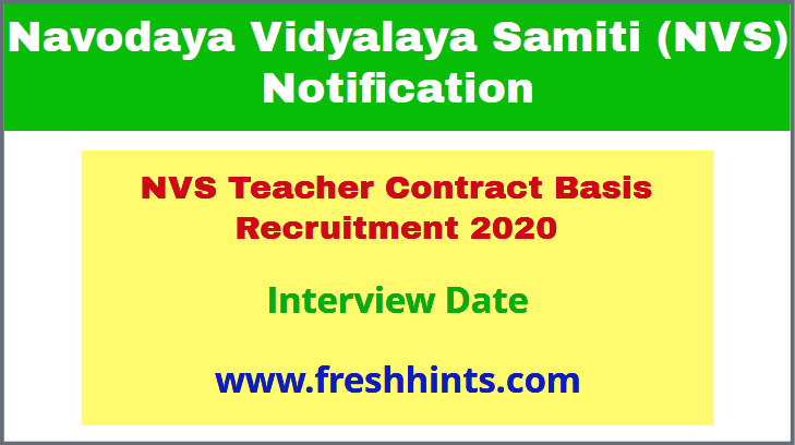 NVS Teacher Contract Basis Recruitment 2020