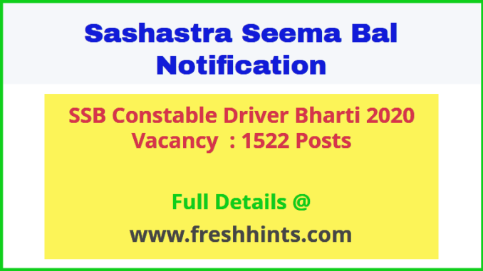 SSB Constable Driver Bharti 2020