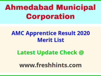 Ahmedabad Municipal Corporation Apprentice Selection List 2020
