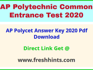 AP Polytechnic Entrance Exam Answer Key 2020