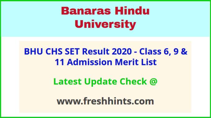 BHU Central Hindu School 6 9 11 Admission List 2020