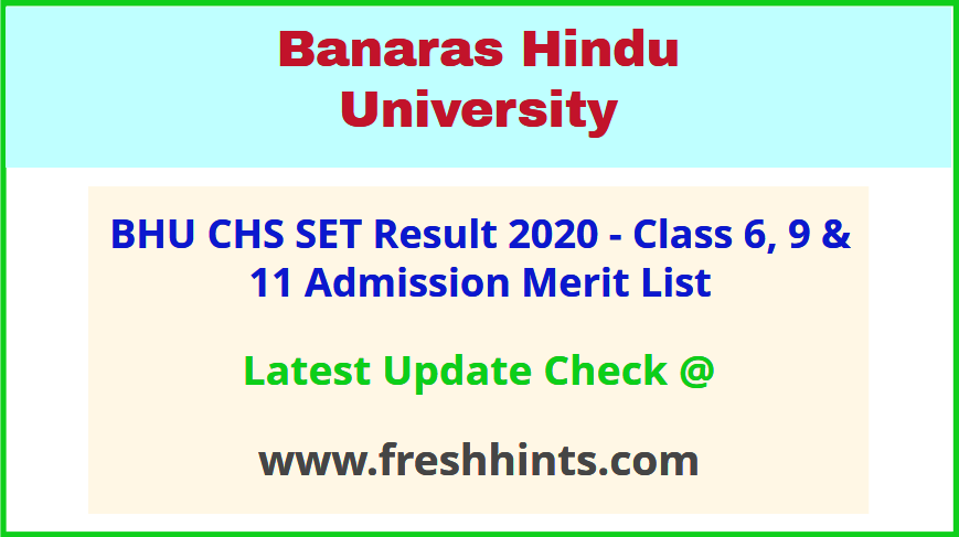 BHU Central Hindu School 6 9 11 Admission List 2020