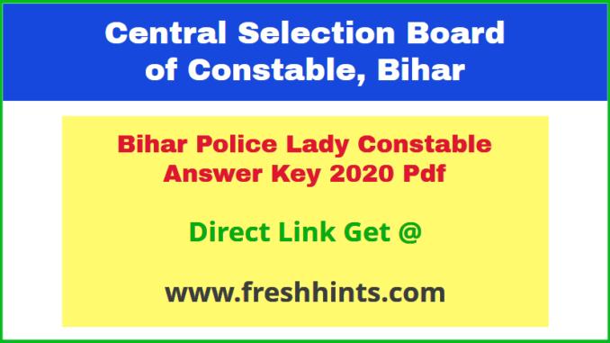 Bihar Swabhiman Police Battalion Mahila Constable Answer Key 2020