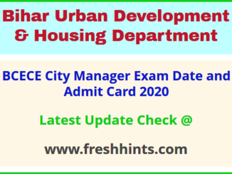 Bihar Urban Development and Housing Department CM Admit Card 2020