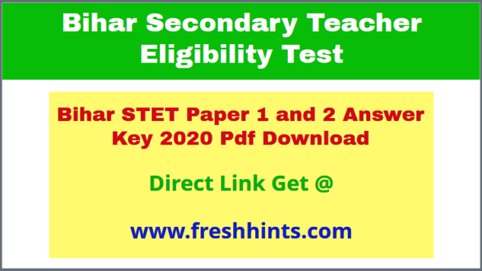 BSEB STET Answer Sheet 2020 Download