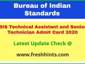 Bureau of Indian Standards TA ST Hall Ticket 2020