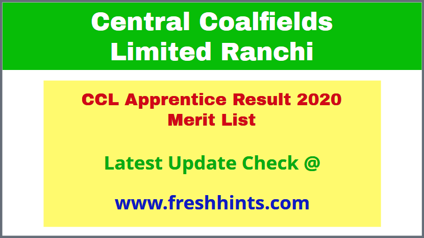 Central Coalfields Limited Apprentice Selection List 2020