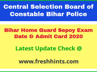CSBC BHG Constable Hall Ticket 2020