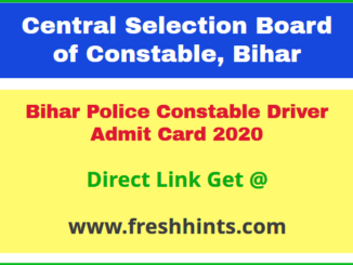 CSBC Constable Driver Admit Card 2020