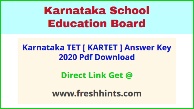 KAR TET Key Answer Sheet 2020 Pdf Download