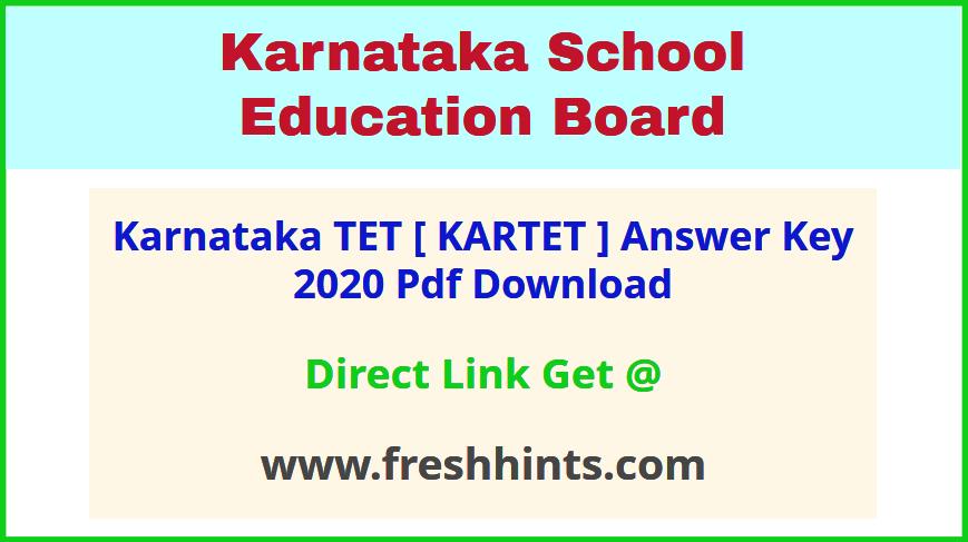 KAR TET Key Answer Sheet 2020 Pdf Download