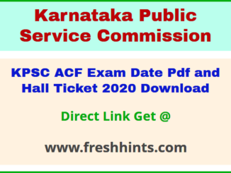 Karnataka Assistant Conservator of Forest Admit Card 2020 Download