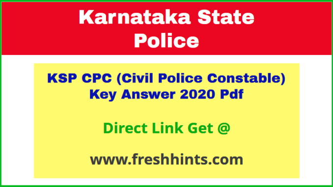 Karnataka Civil Police Key Answer Sheet 2020