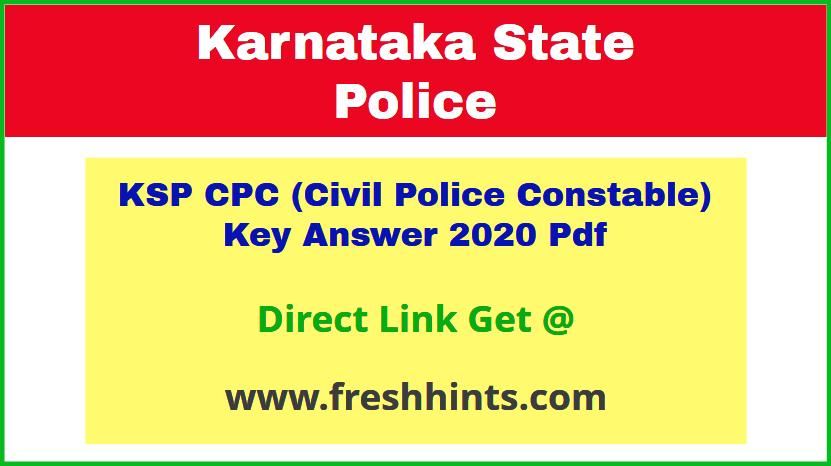 Karnataka Civil Police Key Answer Sheet 2020