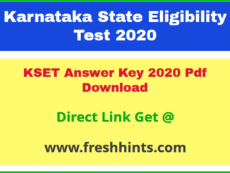 Karnataka SET Key Answer Sheet 2020 Pdf Download