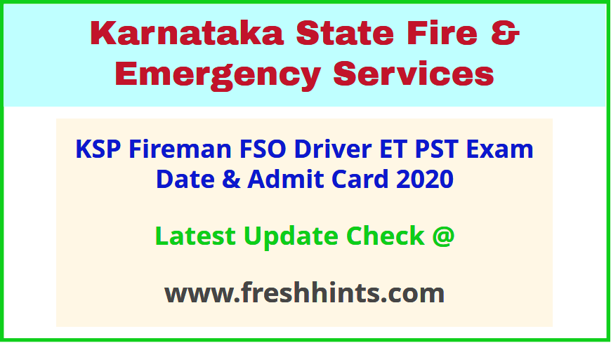 KSFES Fireman Call Letter 2020