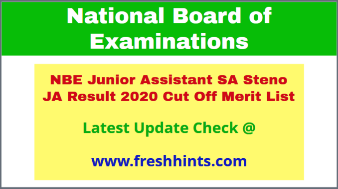 National Board of Examination JA SA Selection List 2020