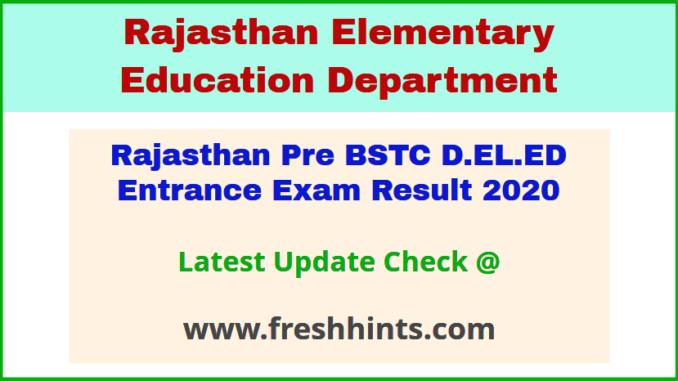 Raj BSTC Entrance Exam Results Score Card 2020