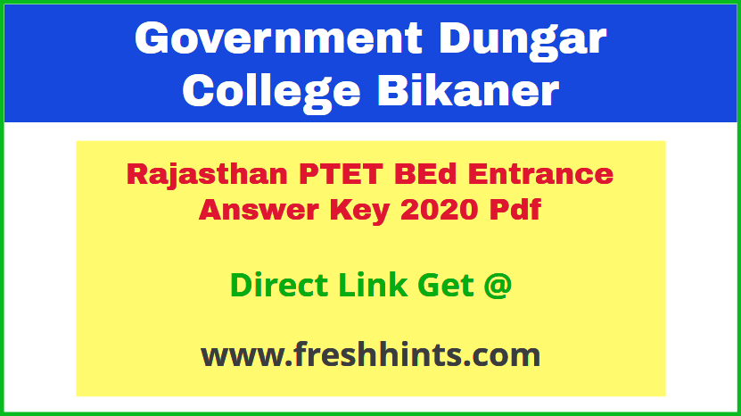 Raj PTET Entrance Exam Answer Sheet 2020