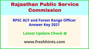 Rajasthan Assistant Conservator of Forest FRO Answer Sheet 2021