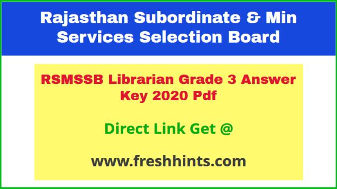 Rajasthan Librarian 3rd Grade Answer Sheet 2020